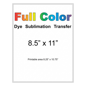 dye sublimation transfer 8.5x11